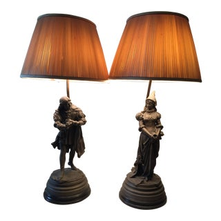 Early 20th Century Bronze Lamps - a Pair For Sale