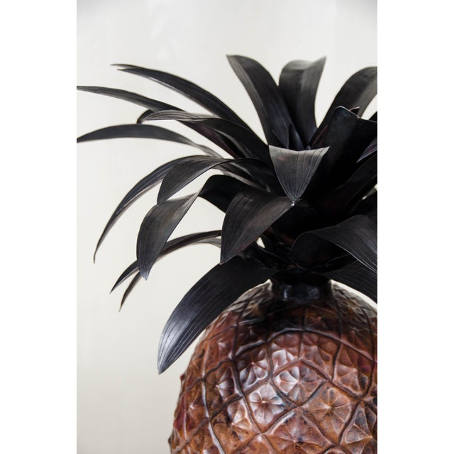 2010s Antique Copper Hand Repoussé Pineapple by Robert Kuo, Limited Edition For Sale - Image 5 of 8