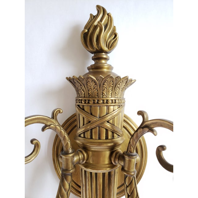 Decorative Crafts Inc. Antique Brass Wall Sconces- a Pair For Sale - Image 4 of 13