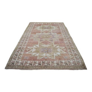 Turkish Distressed Area Rug Hand Knotted Wool Faded Rug - 5'2'' X 7'7'' For Sale