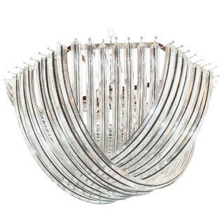 Murano Curve Glass Chandelier With Black Stripes by Venini For Sale
