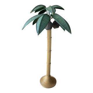 Vintage Mario Lopez Torres Rattan Palm Tree Floor Lamp For Sale