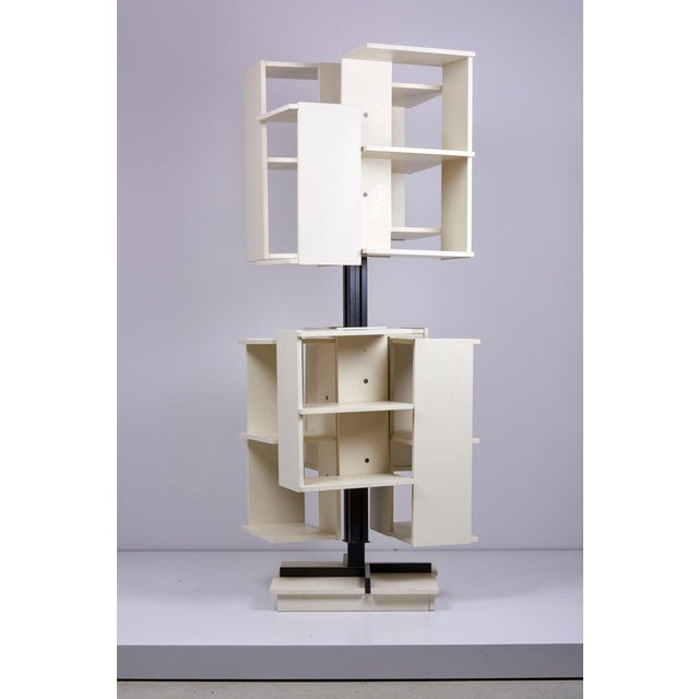 White Rotating Wooden Bookshelf by Claudio Salocchi for Sormani, Italy For Sale - Image 8 of 10