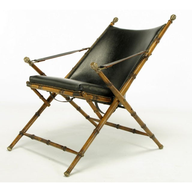 Italian Campaign Chair In Black Leather - Image 6 of 10
