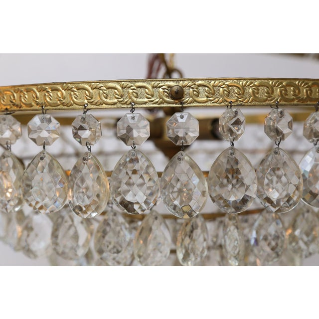 Gilt Brass and Crystal Chandelier by Palwa For Sale - Image 10 of 12