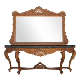 Italian Solid Oak Large Console Table and Mirror For Sale