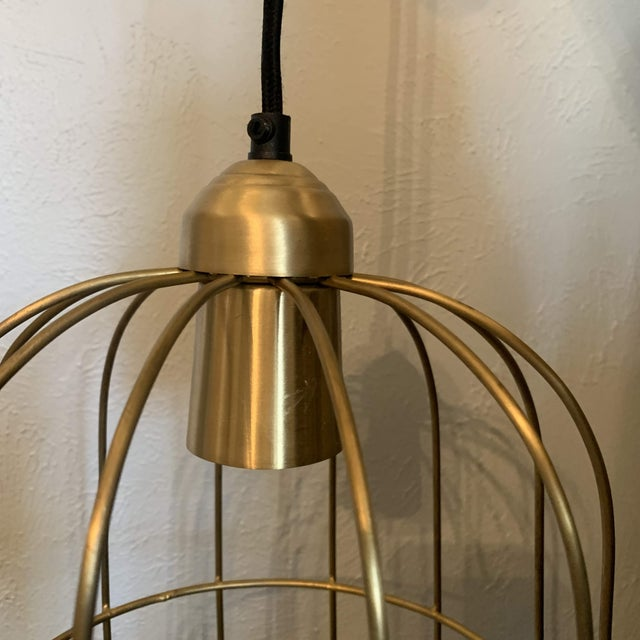 Brass Caged Dome Pendant Lights by Kalalou For Sale In Denver - Image 6 of 13