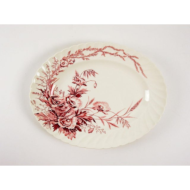 English Red Transferware Platter - Image 2 of 4