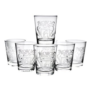 1950s Etched H Monogram Double Whiskey Glasses - Set of 7 For Sale