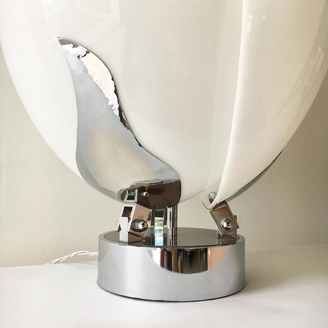 Mid-Century Modern Tulip Shaped Acrylic Rougier Style Table Lamp 1980s For Sale - Image 3 of 5