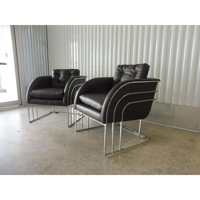 Mid-Century Modern 1970's Mid-Century Modern Milo Baughman Chrome and Leather Club Chairs - a Pair For Sale - Image 3 of 11