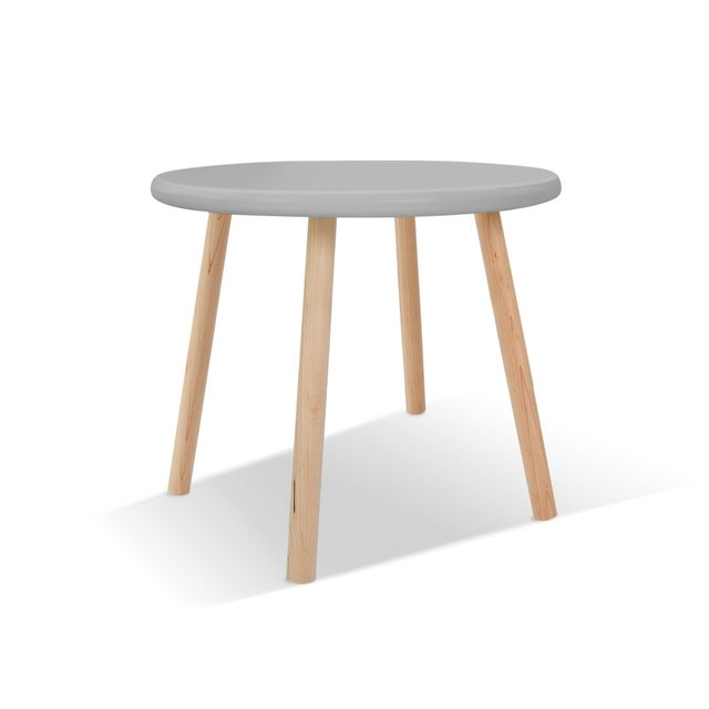 """Contemporary Peewee Small Round 23.5"""" Kids Table in Maple With Gray Finish Accent For Sale - Image 3 of 3"""