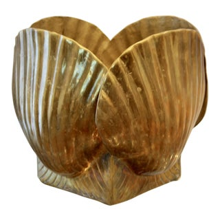 Large Sea Shell Brass Planter