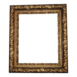 Antique Gesso Gold Leaf Floral Wood Picture Frame For Sale