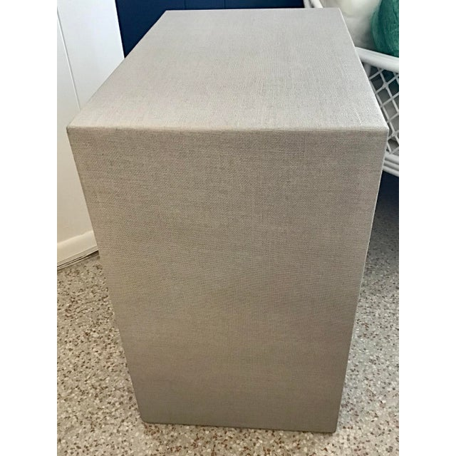 Wood Todd Hase Burlap Wrapped Nightstand Gray Finish For Sale - Image 7 of 8