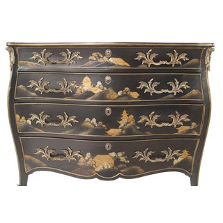 French Louis XV Style Black Lacquered Chinoiserie Decorated Commode For Sale