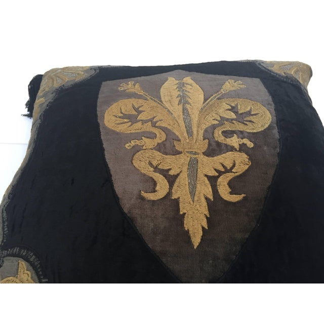 Metal Moroccan Black Silk Decorative Pillow With Gold Metallic Threads and Tassels For Sale - Image 7 of 10