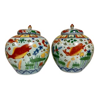 Pair of Hand Painted Asian Ginger Jars For Sale