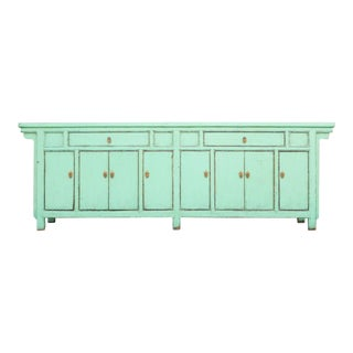 Grand Seafoam Green Lacquered Enfilade For Sale