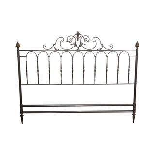 Brushed Steel And Brass Italian Headboard For Sale
