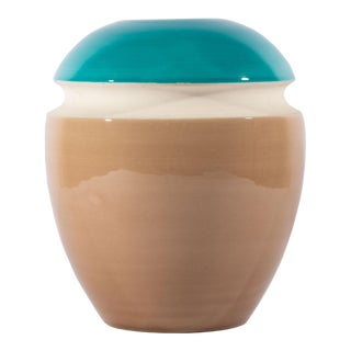 Bitossi Italian Blue, White, and Tan Vase For Sale