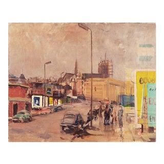 Pieter Van Mol, 'View of Brussels, Belgium', Oil Cityscape, Circa 1955 For Sale