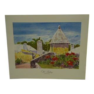 "1947 Original Adolph Treidler's Watercolors of Bermuda ""Old Butterfly - Somerset"" Print"