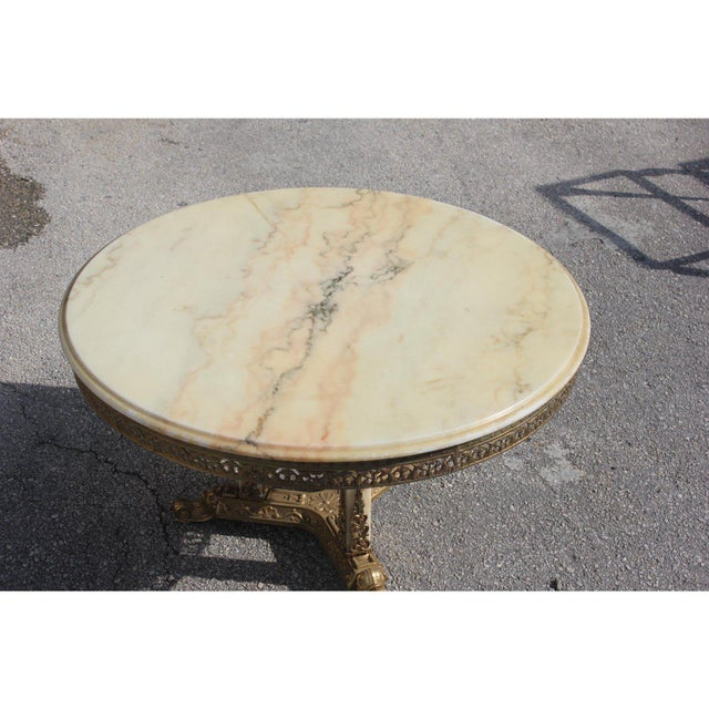1940s Art Deco Maison Jansen Bronze Onyx Top Round Coffee Table For Sale - Image 9 of 13
