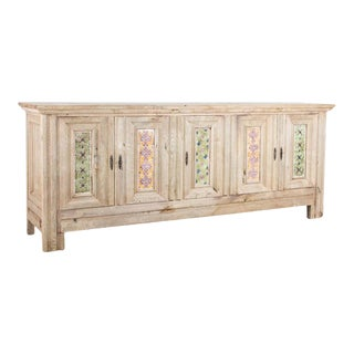 1940s Bleached Oak Buffet With Glazed Tile Decoration For Sale