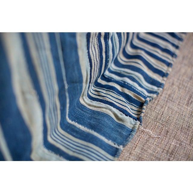 Vintage Hand Woven Indigo Stripe Throw - Image 5 of 7
