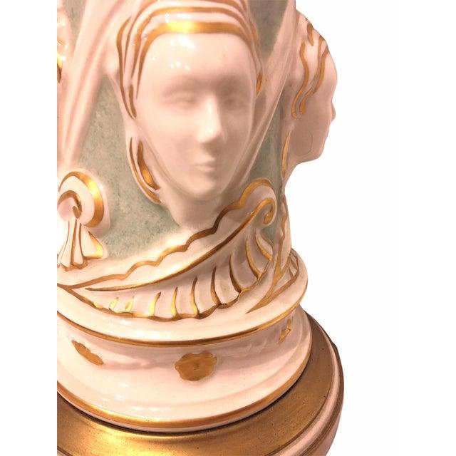 Art Deco Vintage Ceramic Hollywood Regency Table Lamp by Rembrandt For Sale - Image 3 of 9