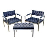 Image of 1970s Vintage Harvey Probber Mid Century Modern Chrome Lounge Chairs & Ottoman - Set of 3 For Sale