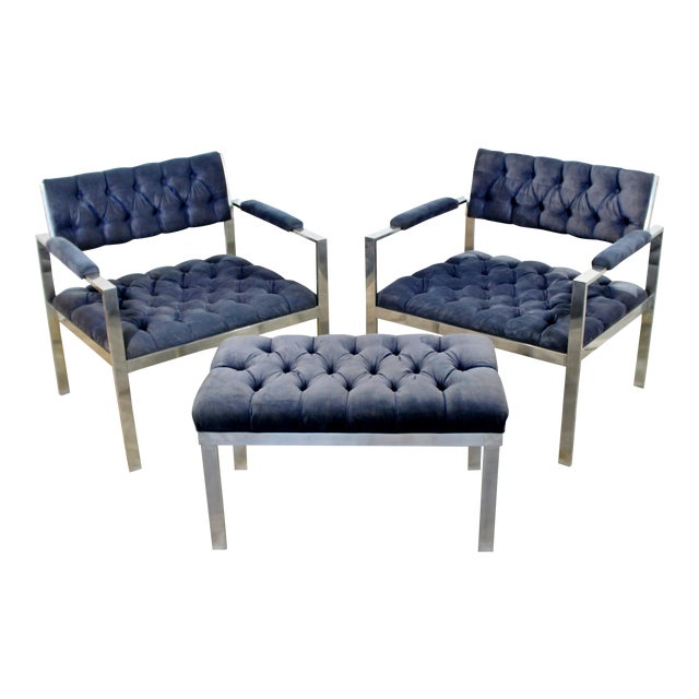 1970s Vintage Harvey Probber Mid Century Modern Chrome Lounge Chairs & Ottoman - Set of 3 For Sale