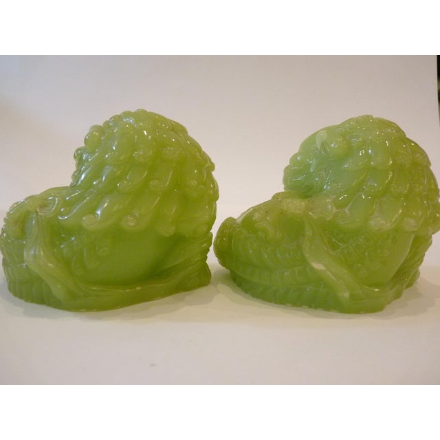 Jade Green Resin Chinese Dragons - Pair - Image 7 of 9