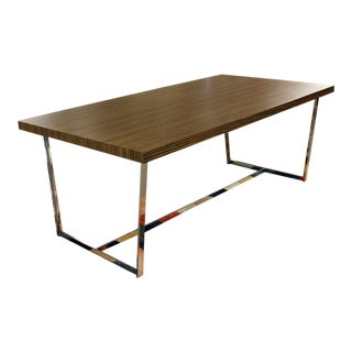 Contemporary Modern Calligaris Italy Zebra Wood Chrome Dining Conference Table For Sale