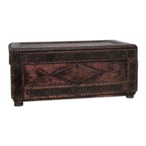 American Country style Tramp Art large rectangular shaped wood box with two bottom drawers and scalloped design (19/20th Cent) For Sale