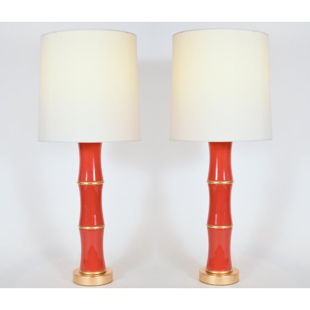 Orange Porcelain Table Lamp With Gold Wood Base - a Pair For Sale - Image 9 of 9