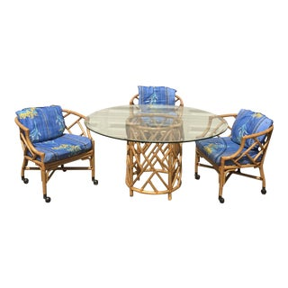 Chinoiserie Table & Rolling Bamboo Chairs For Sale