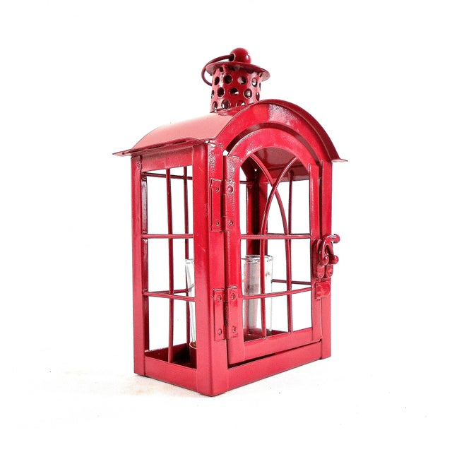 Boho Chic Red Metal Votive Candle Lantern For Sale - Image 3 of 10