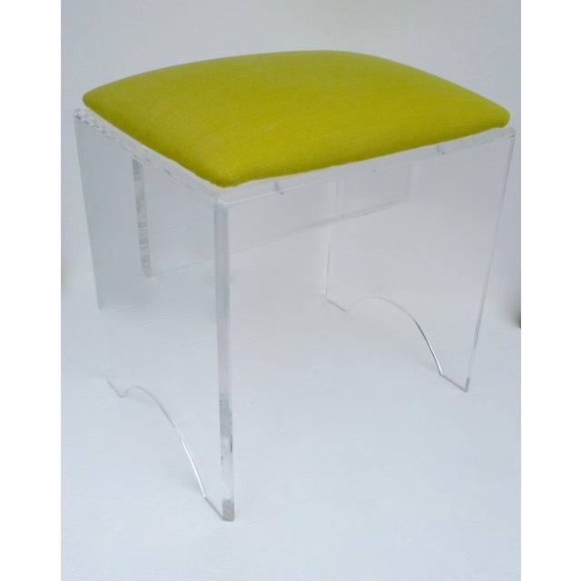 Vintage Mid-Century Lucite Bench With Sunbrella Indoor/Outdoor Textile For Sale - Image 4 of 13