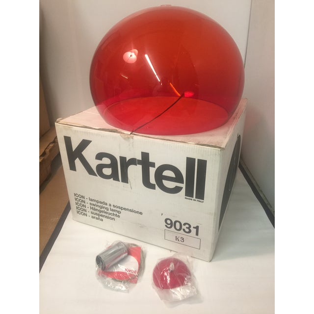 Contemporary Kartell Fl/Y 9031/K3 Suspension Lamp in Red For Sale - Image 3 of 4
