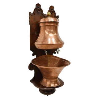 19th Century French Provincial Wall-Mounted Brass & Copper Lavabo on Carved Walnut Stand For Sale