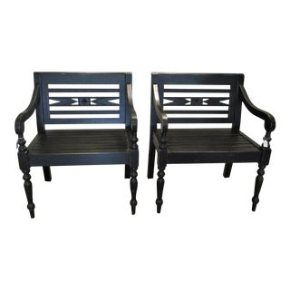 Pair of Chairs in Black Lightly Distressed Over Solid Mahogany