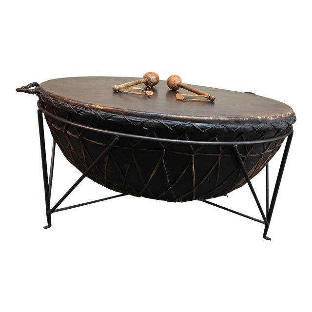 African Drum Coffee Table.African Drum Cocktail Table