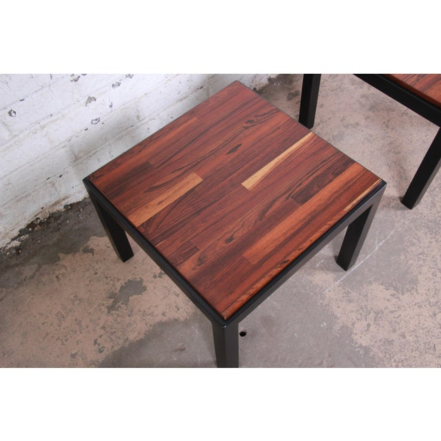 Wood Milo Baughman for Thayer Coggin Walnut and Ebonized Wood Side Tables, Newly Restored For Sale - Image 7 of 9
