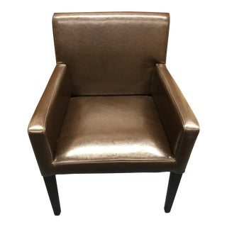 Crate and Barrel Faux Leather Side Chair For Sale