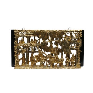 Chinese Vintage Restored Warfield Opera Scenery Wooden Panel Wall Art For Sale