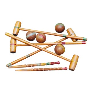 Vintage Wooden Croquet Set With Stand - 20 Pc. Set