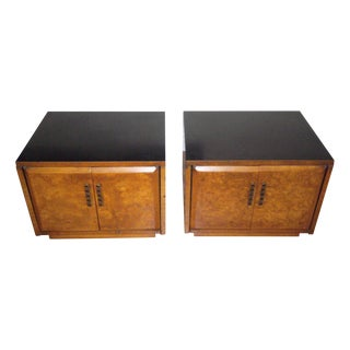 Drexel Heritage Burlwood Cabinets - A Pair For Sale