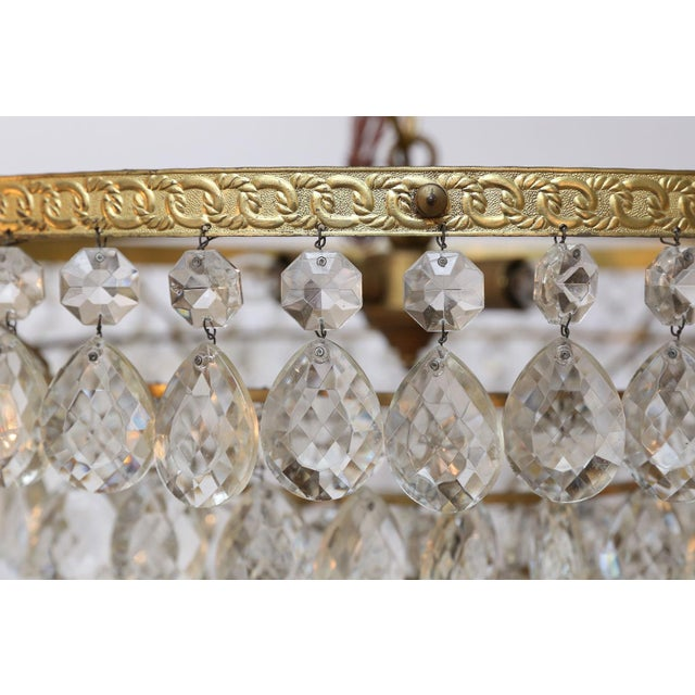 Gilt Brass and Crystal Chandelier by Palwa For Sale - Image 9 of 12